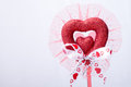 Red heart and ribbon decorate with on white background Royalty Free Stock Images