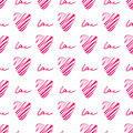 Red heart seamless pattern. Simple seamless monochrome wallpaper. Hand drawn background. Royalty Free Stock Photo