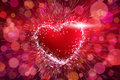 Red heart shape burst Royalty Free Stock Photo