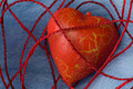 Red heart shape in cotton cobweb Stock Images