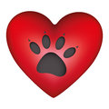 red heart shape with dog footprint icon