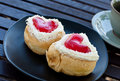 Red heart  shape of  donut. Royalty Free Stock Photos