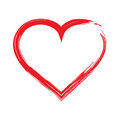 Red heart shape frame with brush painting isolated on a white background