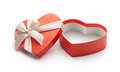 Red heart shape gift box isolated