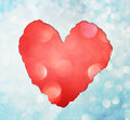 Red heart shape made from torn paper over glitter boke soft lights Stock Photo