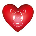 red heart shape with silhouette face cute zebra animal Royalty Free Stock Photo