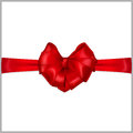 Red heart shaped bow with ribbons horizontal Stock Image