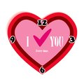 Red heart-shaped clock. About love all the time. Royalty Free Stock Photo