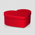 Red heart shaped gift box on simple background