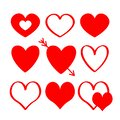 Red Heart Silhouette Icon Set....