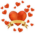 Red heart with small hearts environment Royalty Free Stock Photography
