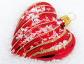 Red Heart with Snow - Christmas Time Royalty Free Stock Photos