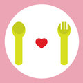 Red Heart With Spoon And Fork. Stock Image
