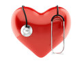 Red heart and stethoscope d render of isolated Royalty Free Stock Photos