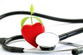 Red heart and stethoscope Royalty Free Stock Photo