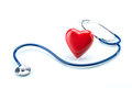 Red heart with stethoscope isolated on white background Royalty Free Stock Photo