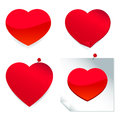 Red heart stickers a set of shaped and post it notes Stock Photos