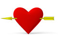 Red heart symbol with golden arrow on white background d illustration Stock Photography