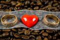 Red heart with two rings Royalty Free Stock Photo