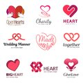 Red heart - vector set logo design set. Medicine and health care concept. Love, charity and philanthropy.