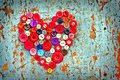 Red heart from Vintage buttons Royalty Free Stock Photo