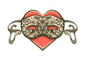 Red heart in vintage decorative mask for carnival eps vector illustration on white background Stock Photo