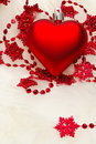 Red Heart on white fur Royalty Free Stock Image