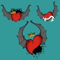 Red heart winged bat tattoo set crown Royalty Free Stock Photo
