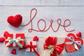 Red heart, Word Love and Valentines Day gifts Royalty Free Stock Photo