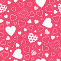 Red hearts background lovely white and polka dot pattern on Stock Photo