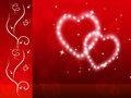 Red hearts background means tenderness lover and floral meaning Royalty Free Stock Photo