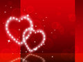 Red hearts background shows fondness special and sparkling showing Stock Images