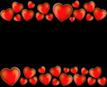 Red hearts on a black background Stock Photography