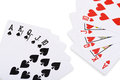 Red hearts and black spade royal straight flush poker card Royalty Free Stock Photo