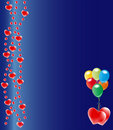Red hearts on blue background Royalty Free Stock Images
