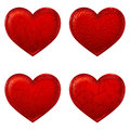 Red hearts d simple icon made with meshes Stock Photos
