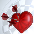 Red hearts dartboard with darts in centre d rendering Stock Image
