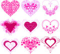 Red hearts with filigree ornament. Stock Images
