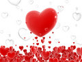 Red hearts flying Stock Photo