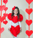 Red hearts girl in clothes with paper handmade Stock Photo