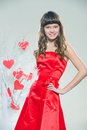 Red hearts girl in clothes with paper handmade Stock Images