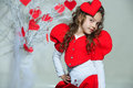 Red hearts girl in clothes with paper handmade Royalty Free Stock Photography