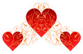 Red hearts with gold flourish illustration of intricate Royalty Free Stock Photos