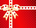 Red Hearts, Gold Satin Ribbon Present Stock Image