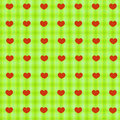 Red hearts on green tablecloth seamless background simple sacking for wrapping and wallpaper design Stock Photo
