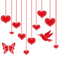 Red hearts hanging on a string heart hand drawing valentines vector illustration Royalty Free Stock Image