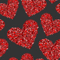 Red hearts made from small circles on black Royalty Free Stock Photo