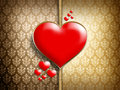 Red hearts on patterned background double layered Stock Image