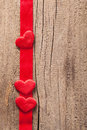 Red hearts and ribbon frame wooden background for valentines day Stock Images