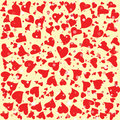 Red hearts round background template. Halftone circle vector illustration.